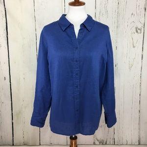 Soft Surroundings Long Sleeve Blue Linen Blouse